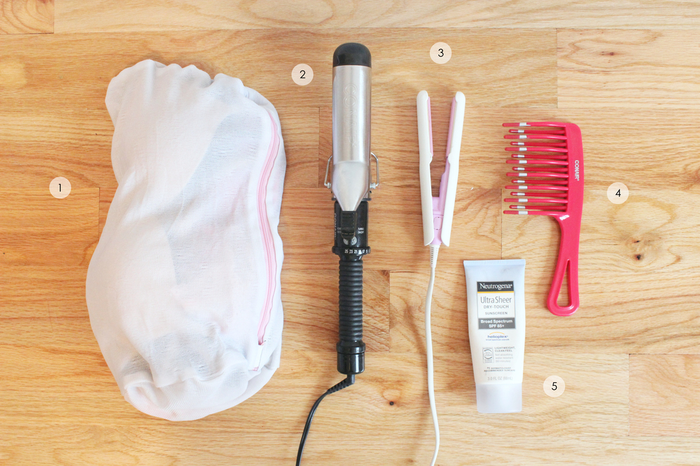 Other items: 1. Laundry delicates bag to hold bras and undies (similar  here ) 2. Curling iron, 1.5 inch ( Conair ) 3. Mini straightening iron (bought in Korea,  Stylerush ; alternative  here ) 4. Hair comb (similar  here ) 5. Sunscreen 85+ SPF ( Neutrogena )