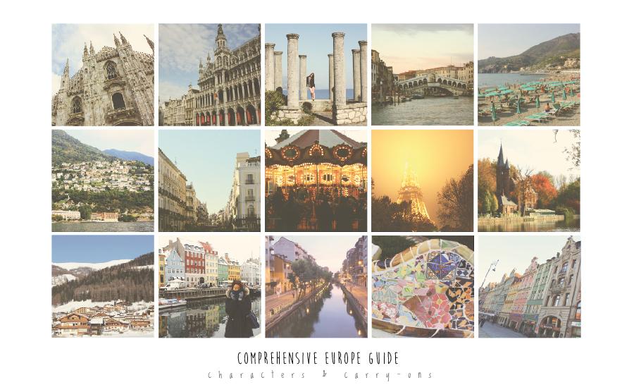 Left to right: Milano, Bruxelles, Lago Maggiore, Venezia, Cinque Terre, Lago di Como, Madrid, Madrid, Paris, Bruges, San Nicolo di Comelico, Copenhagen, Milano, Barcelona, Wroclaw