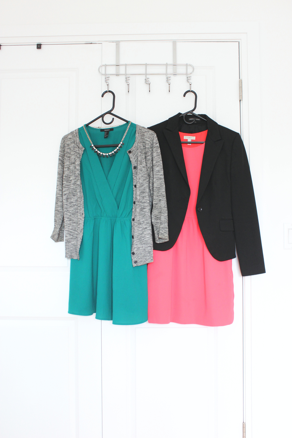 Left to right: 1. Grey cardigan (LOFT, old) 2. Green dress (Forever21, old) 3. Black blazer (Express, old) 4. Pink dress (Jcrew, old)