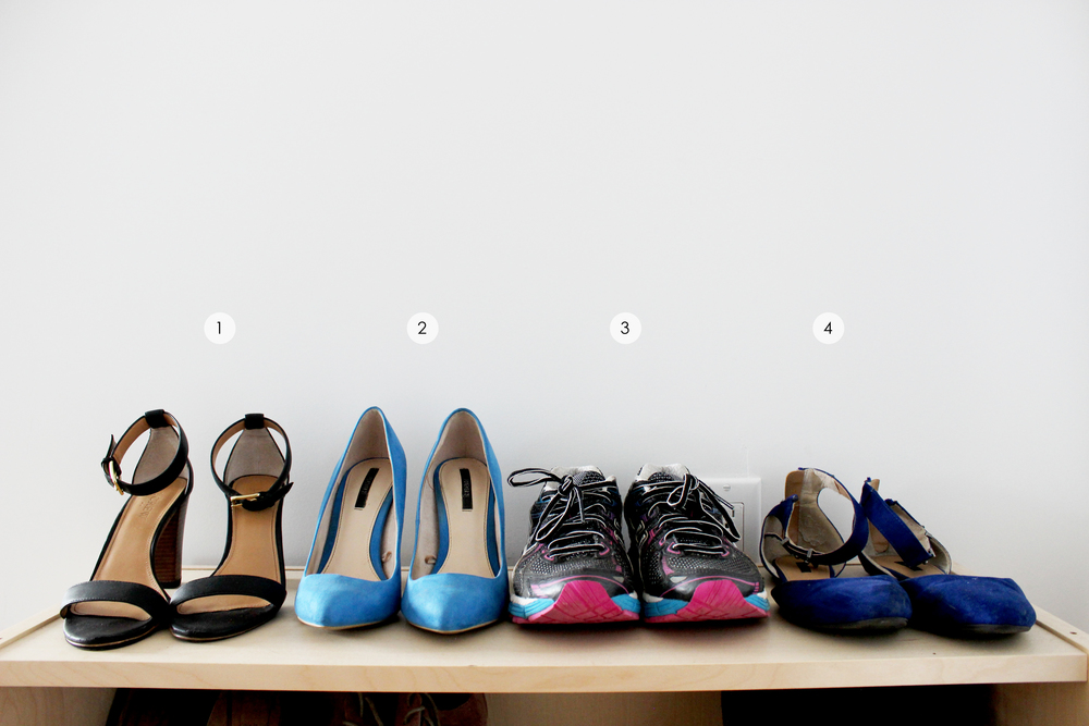 1. Simple black heels (Jcrew, old) 2. Blue pumps (Forever21, old) 3. Running shoes (Asics) 4. Flats (Forever21, old)