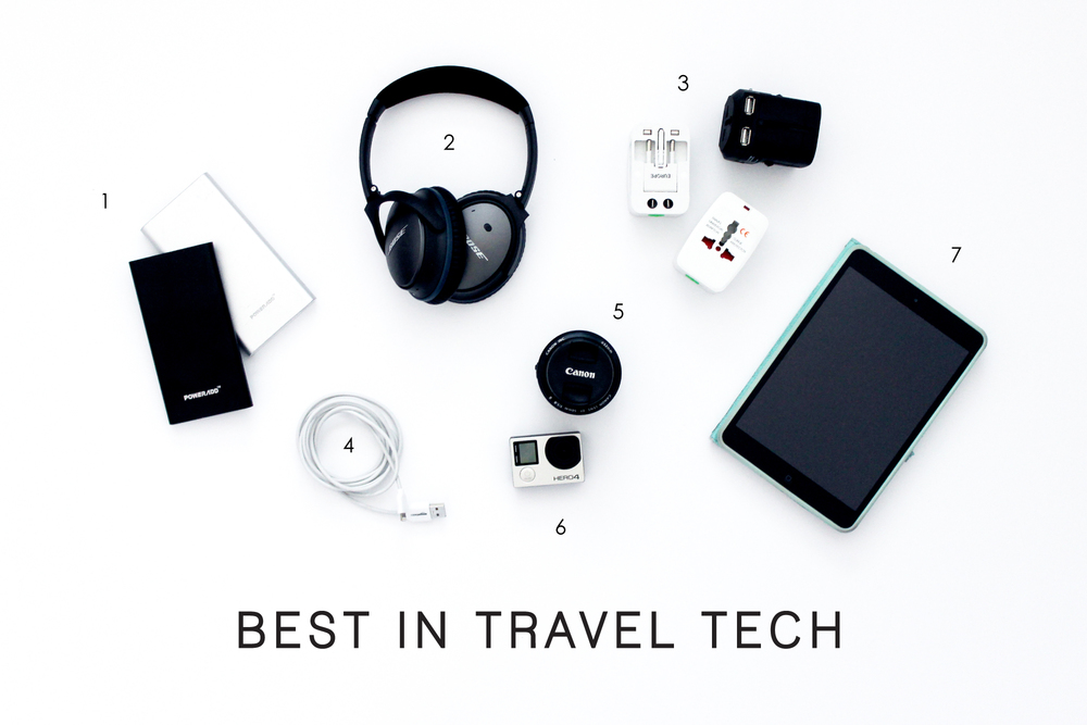 1. Mobile battery pack 2. Bose noise cancelling headphones 3. Universal travel adapters (options here and here) 4. Six ft iPhone cable5. 50mm lens that goes with my DSLR Canon T3i 6. Go Pro Hero4 Silver 7. iPad Mini + case
