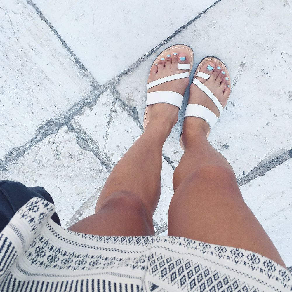 Found the perfect white leather sandals while street shopping!