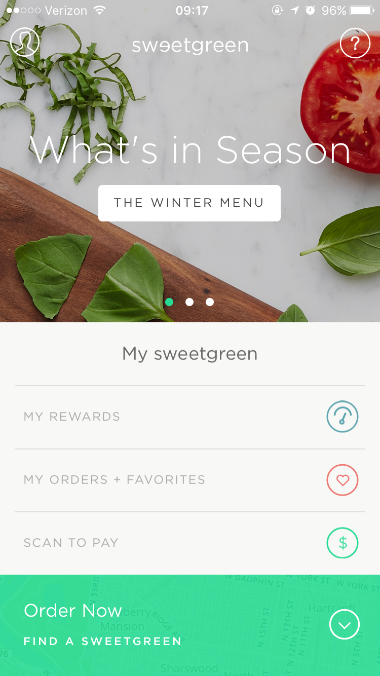 iOS Sweetgreen app