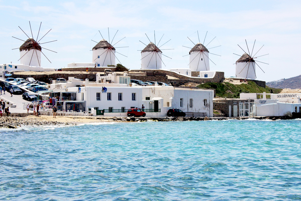 The famous windmills in Mykonos Town