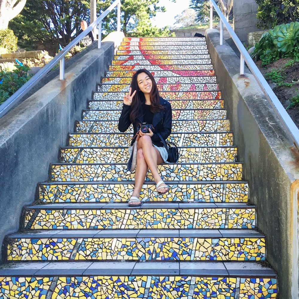 On the mosaic steps in San Francisco