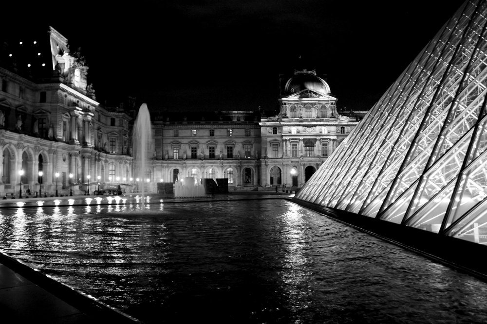The Louvre, illuminated at night