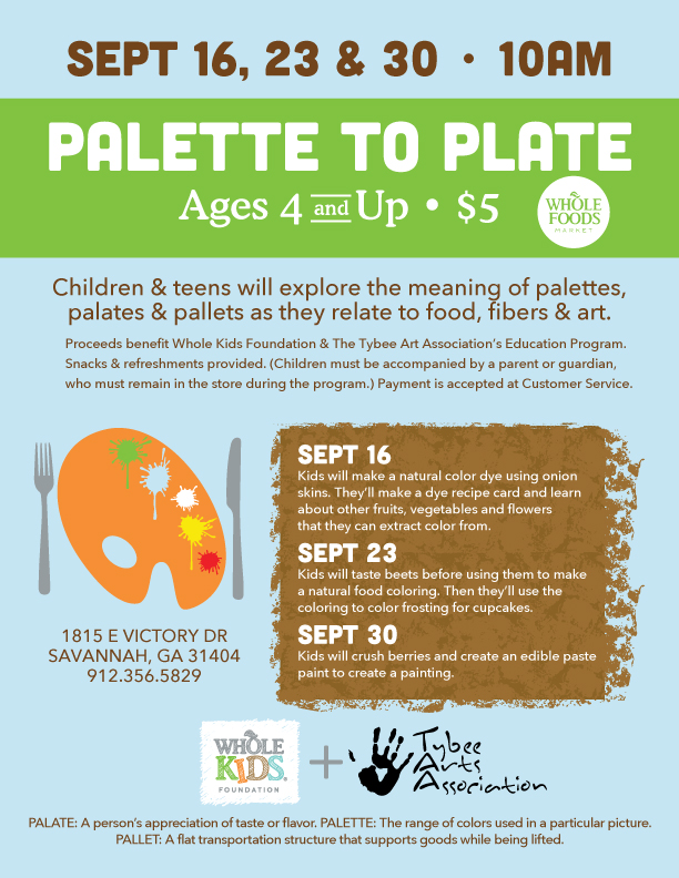 PALETTE TO PLATE Event w/Whole Foods — Tybee Arts Association