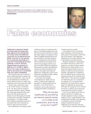 """False Economies"",  Healthcare Manager 21,  Spring 2014 ."