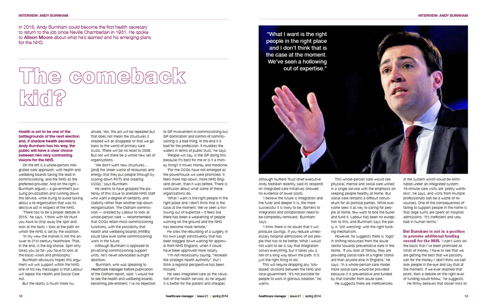 Healthcare Manager Spring 2014 – Andy Burnham interview