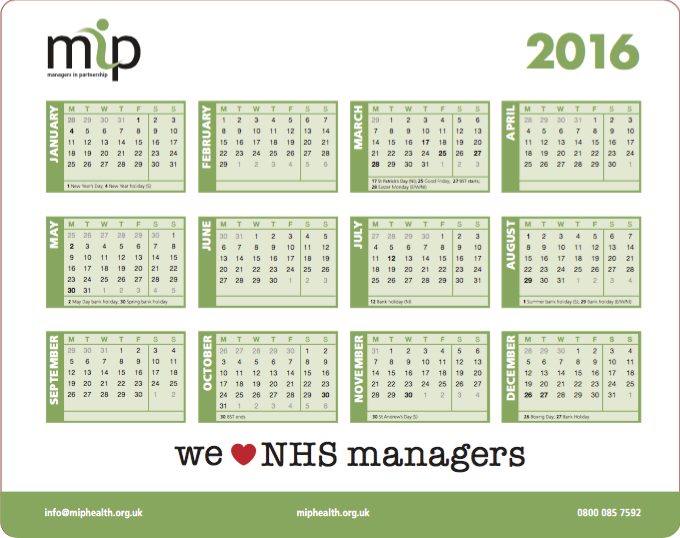 The 2016 MiP calendar mousemat we'll be mailing to MiP members and stakeholders with the Christmas issue of   Healthcare Manager.