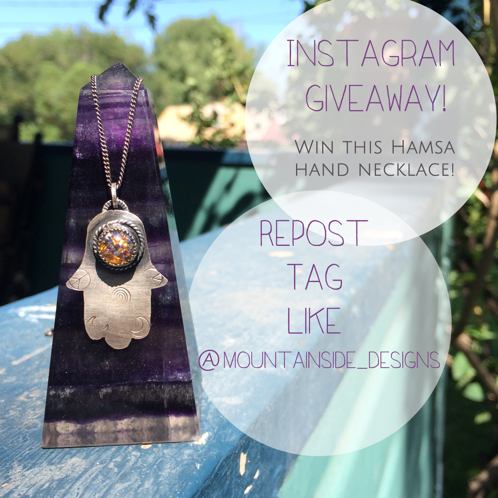 Win this Hamsa Hand necklace and help spread the word about Mountainside Designs on Instagram!