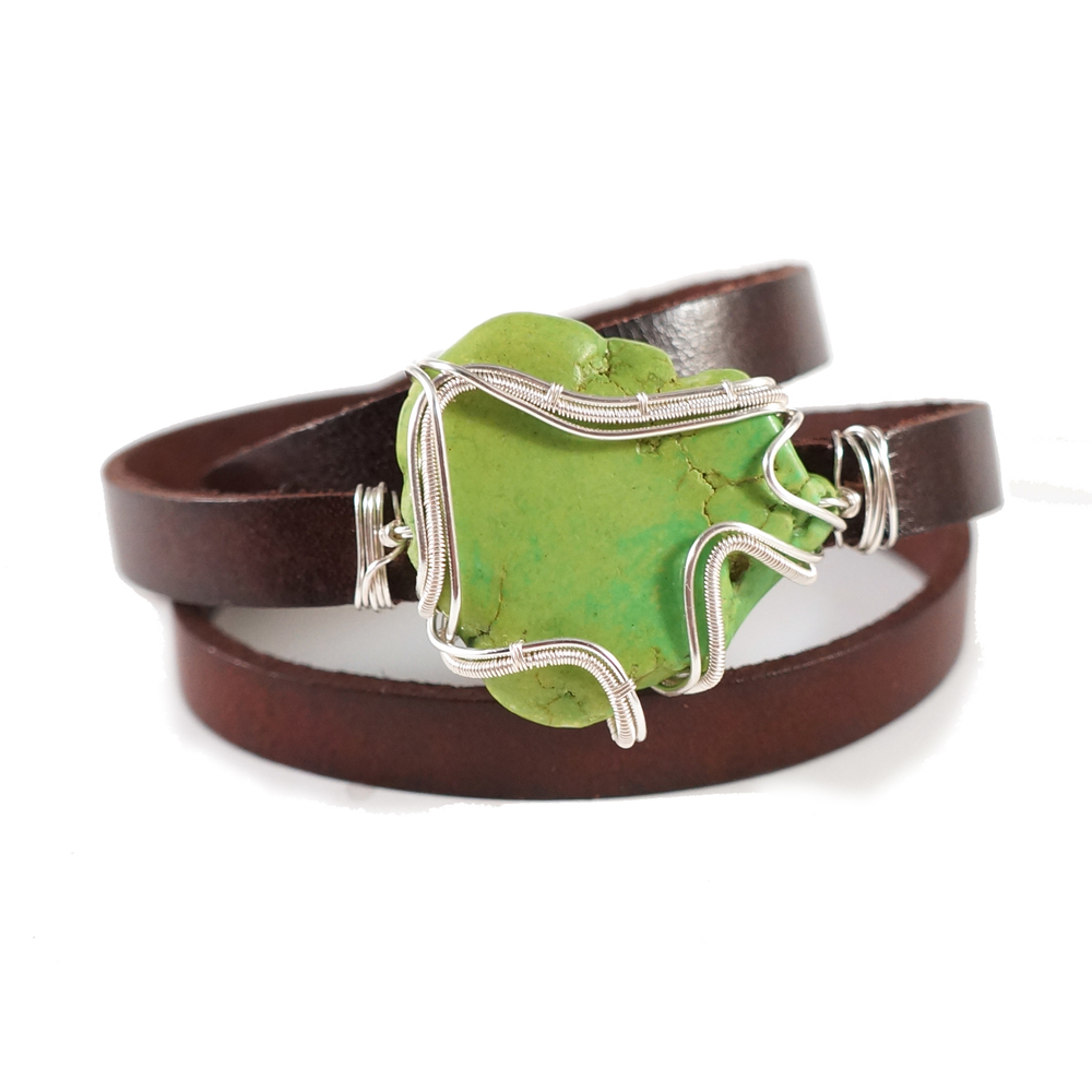 This wire wrapped turquoise leather bracelet makes a great gift because it's adjustable and will fit anyone!
