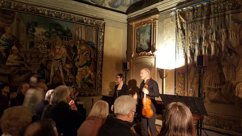 with violist Christophe Desjardins after the premier of 'off hesperus' (MANCA festival, Nice, France)