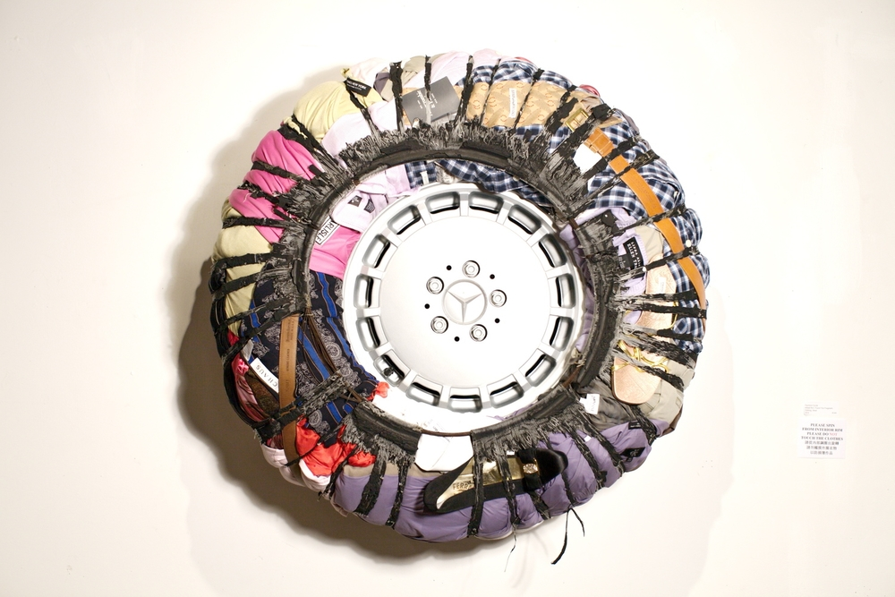 "Peter Hiers   Fashion Cycle , 2013   wheel rim, found tire fragment  35"" x 15"""