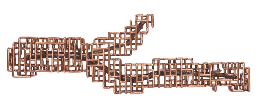 "TJ Volonis     Förl    åt     (I'm Sorry),    2012    copper, lacquered branch    25.5"" x 79"" x 12""; weight unknown"