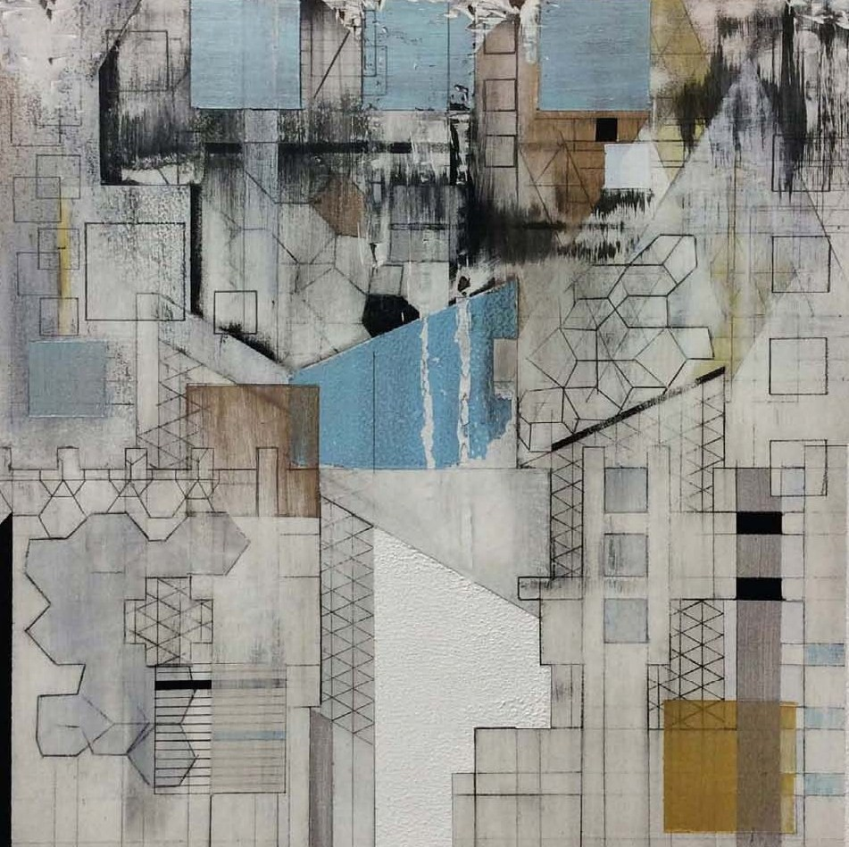 "Broken Grids 01,  2014  acrylic and graphite on wood panel  10"" x 10"""