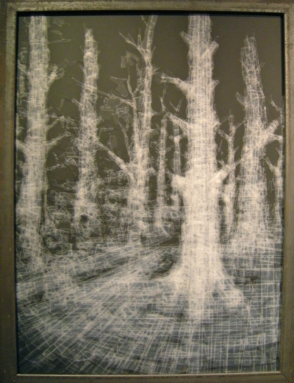 HongSeon Jang  Forest, 2010   Tape on black chalkboard  25 x 19""