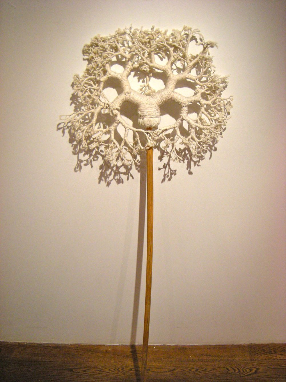 "Hyungsub Shin  Uprooted No.2, 2010  Wood and cotton mop, cotton thread  58"" x 20"" x 3"""