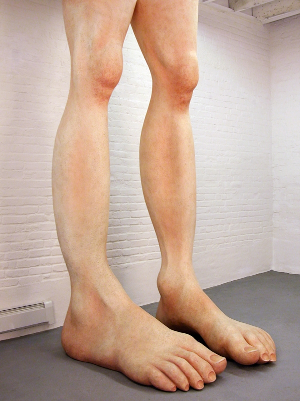 "Hans Van Meeuwen  A Man's Height, 2008  Styrofoam, plaster-cast, tile-adhesive, resin, wood, painted  99"" x 48"" x 40"""