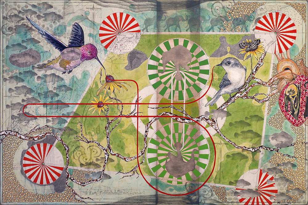 "Reet Das  The Legend of Savitri, 2013  Maritime map, Gouache, Acrylic, Graphite, on Paper & Wood panel  30""x20"""