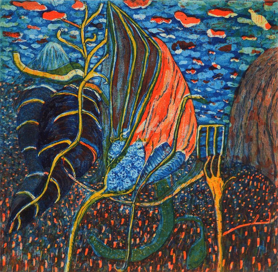 "Tara Sabharwal  9-Dens-rain, 2012  3 Color plate etching  6.5""x6"""