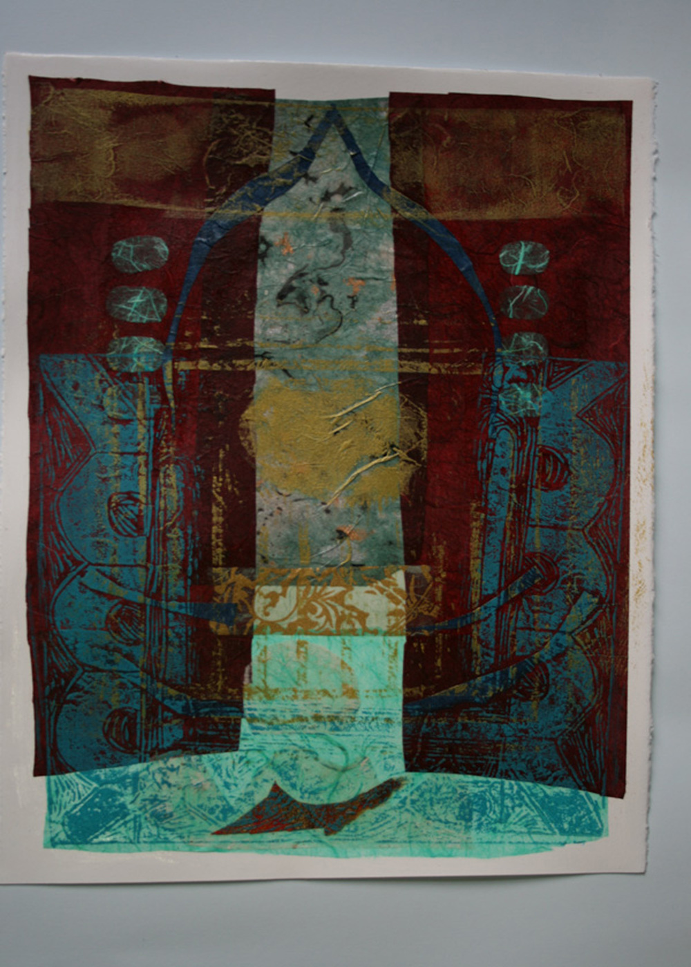 "Pinku Roy-Bari  Mandir 1, 2012  Mixed Media on Paper  15""x11"""