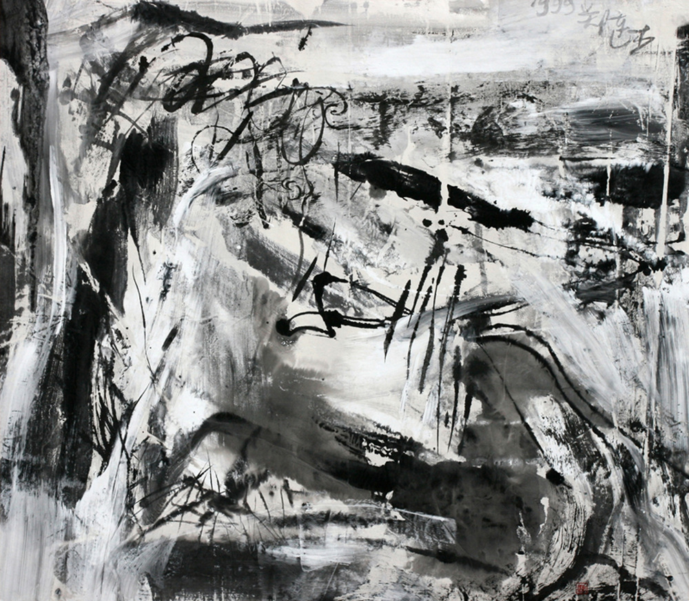 "Zheng Lianjie  Untitled 9, 1999  Ink & acrylic on rice paper  27""x 31"""