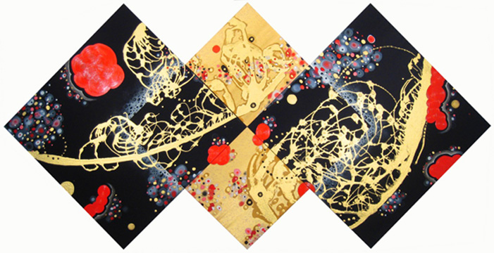 "Eric Jiaju Lee  What's Not Between Either Or (Tetraptych), 2010  Acrylic on silk and satin  33.5"" x 67"""