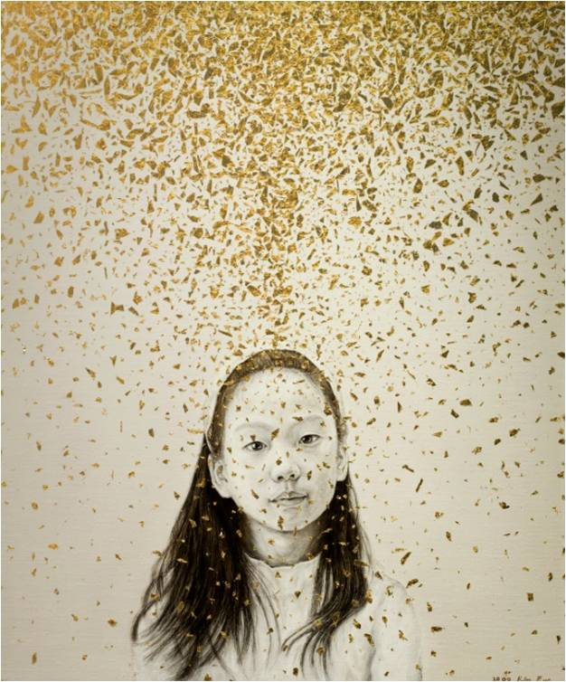 "Kim Eun  Values I live by  Mixed Media, oil on canvas with 24k gold  28.6 "" x 23.8 """