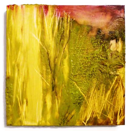 "Rachel L. Kohn   Studio Maintenance Landscape I , 2011  Encaustic on panel  10"" x 10"""