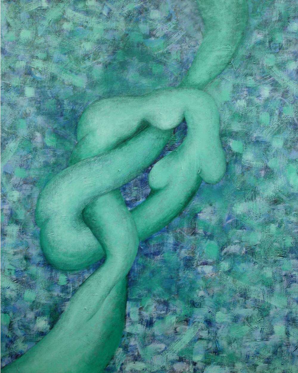 "Moni Oolyonghai  The Knot from the Heart # 2, 2010  Acrylic on canvas  38"" x 56"""