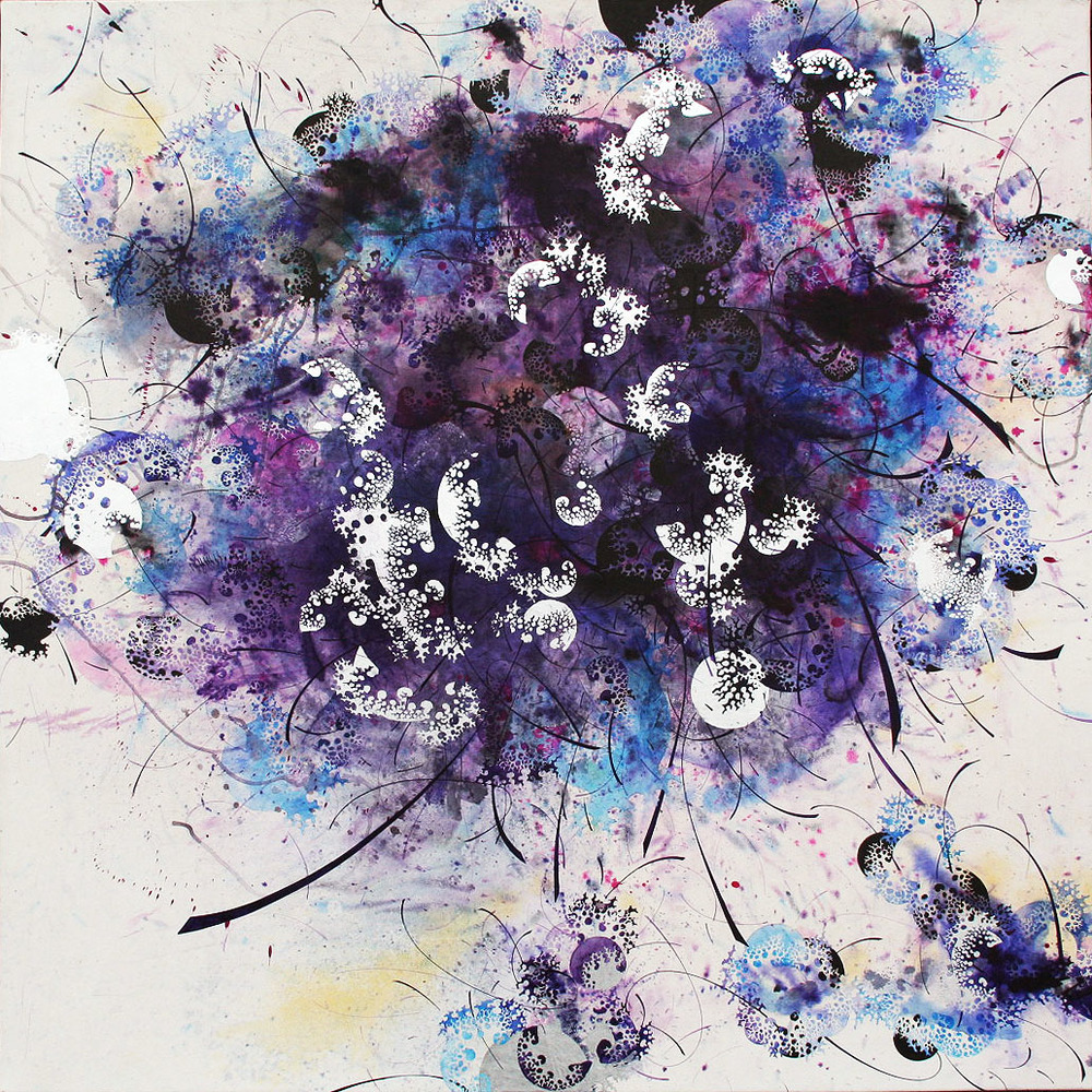 "Hyungsub Shin  Uprooted, 2010  Ink, acrylic on paper mounted on canvas  49"" x 49"""