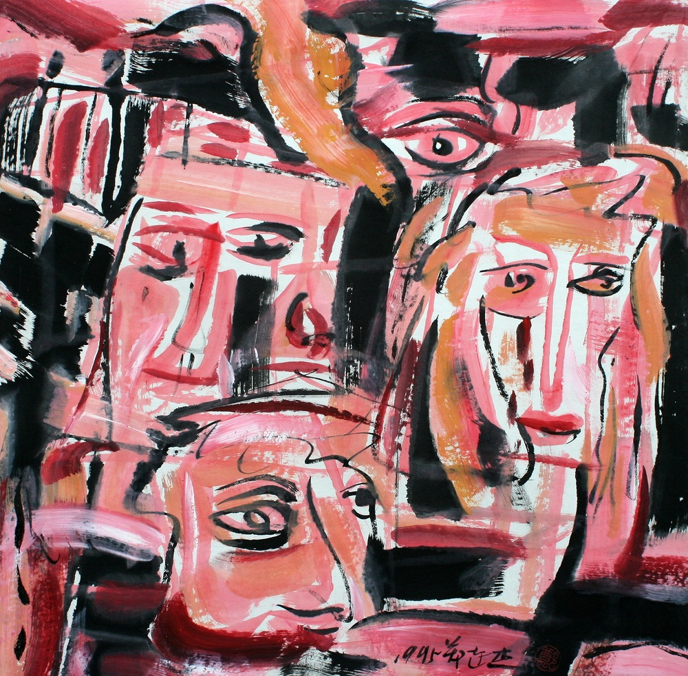 "Zheng Lianjie  City Faces, 1995  Ink on xuan paper  27"" x 27"""