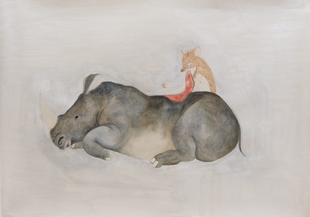 "Fay Ku  Rhino Prey, 2010  Graphite, watercolor, metallic color on Fabriano Rossapina  27 1/2"" x 39"""