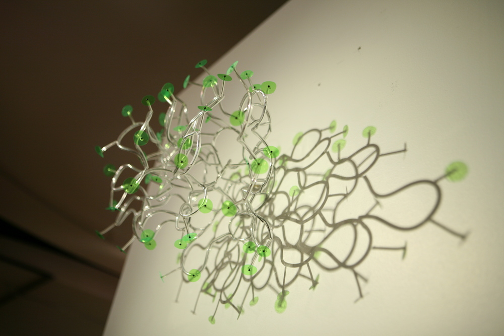 "JaeHi Ahn  Dreaming Plants-sculpture I  2009  PVC tube, wire, mylar, pin  15"" x 12"""