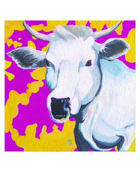 "Mieko Anekawa  Year of the Ox, 2009  Acrylic on canvas  8"" x 8"""