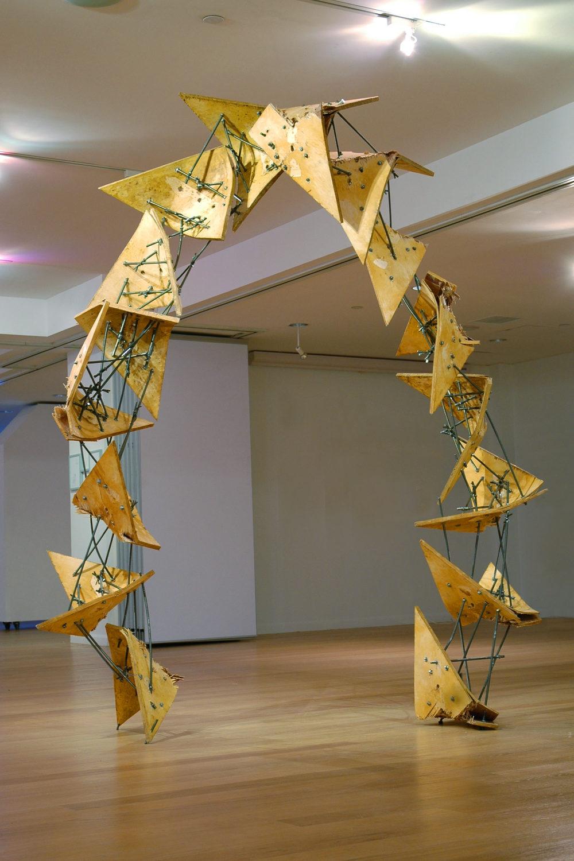 "Kai Vierstra  Quake Arch, 2009  plywood, Steel, Beeswax  102"" x 80"" x 32"""