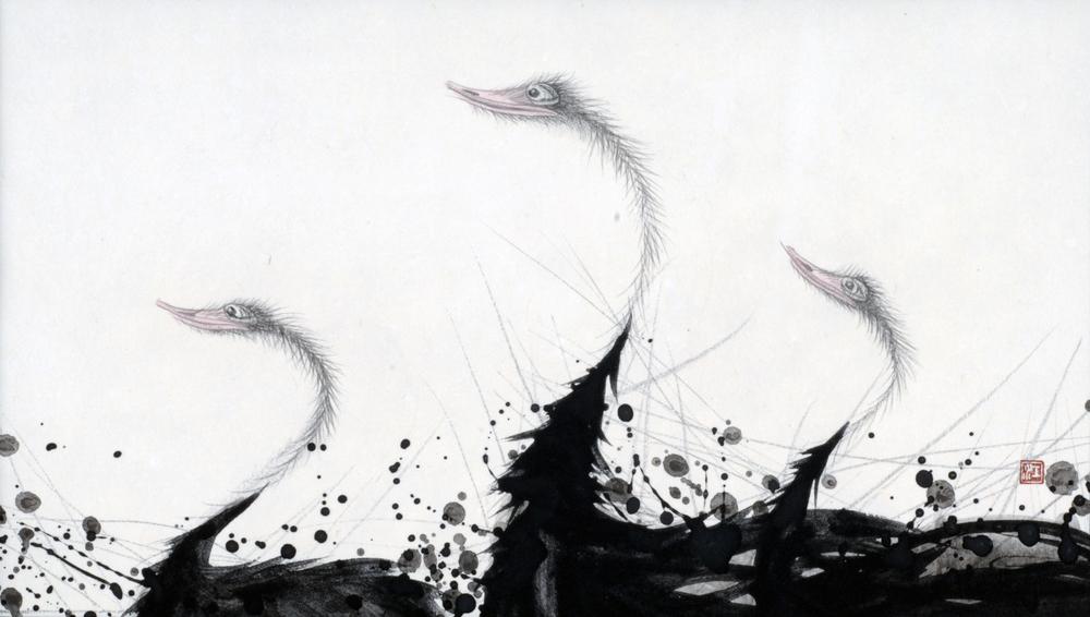 "Kotaro Fukui  Flightless #17, 2005  Japanese paper, Indian ink, Mineralpigment  7""x 12.5"""
