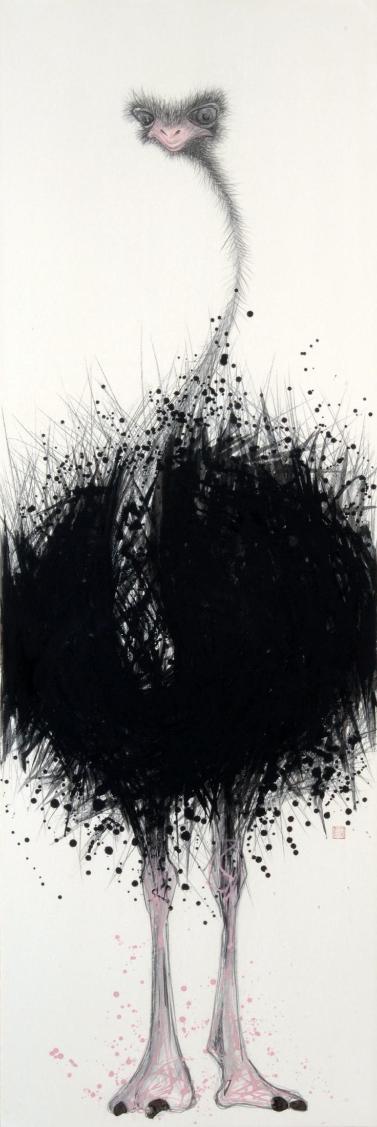 "Kotaro Fukui  Flightless #2, 2005  Japanese paper, Indian ink, Mineralpigment  58""x 19"""