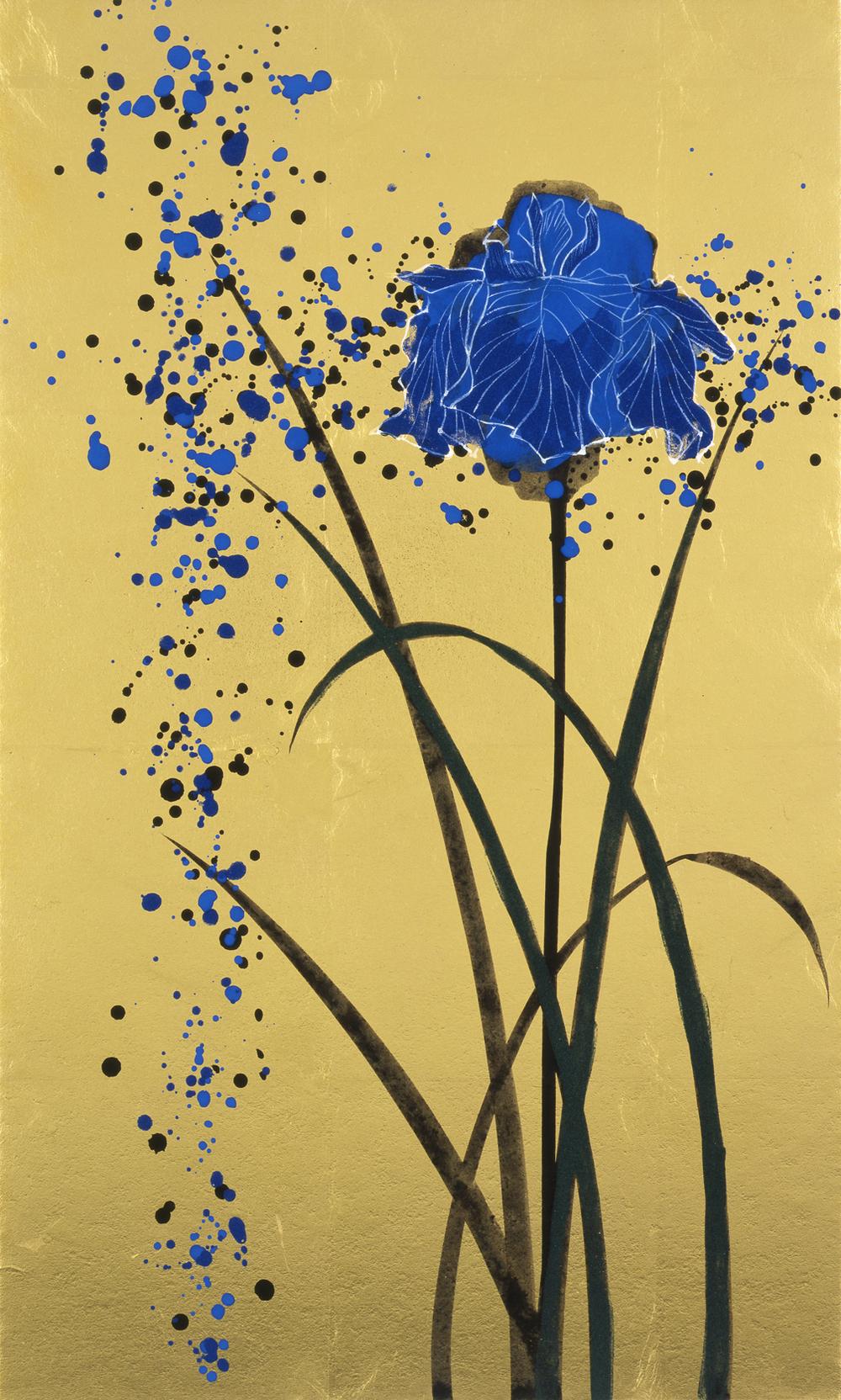 """Kotaro Fukui  Silent Flower #14, 2008  Japanese paper, gold foil, indian ink, natural mineral pigment  20.9""""x 13.25"""""""