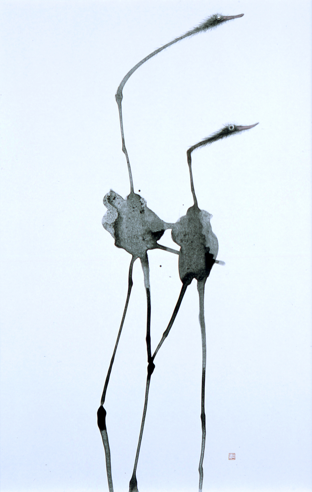 Kotaro Fukui  Abstract Ostrich   Coated paper, Indian ink