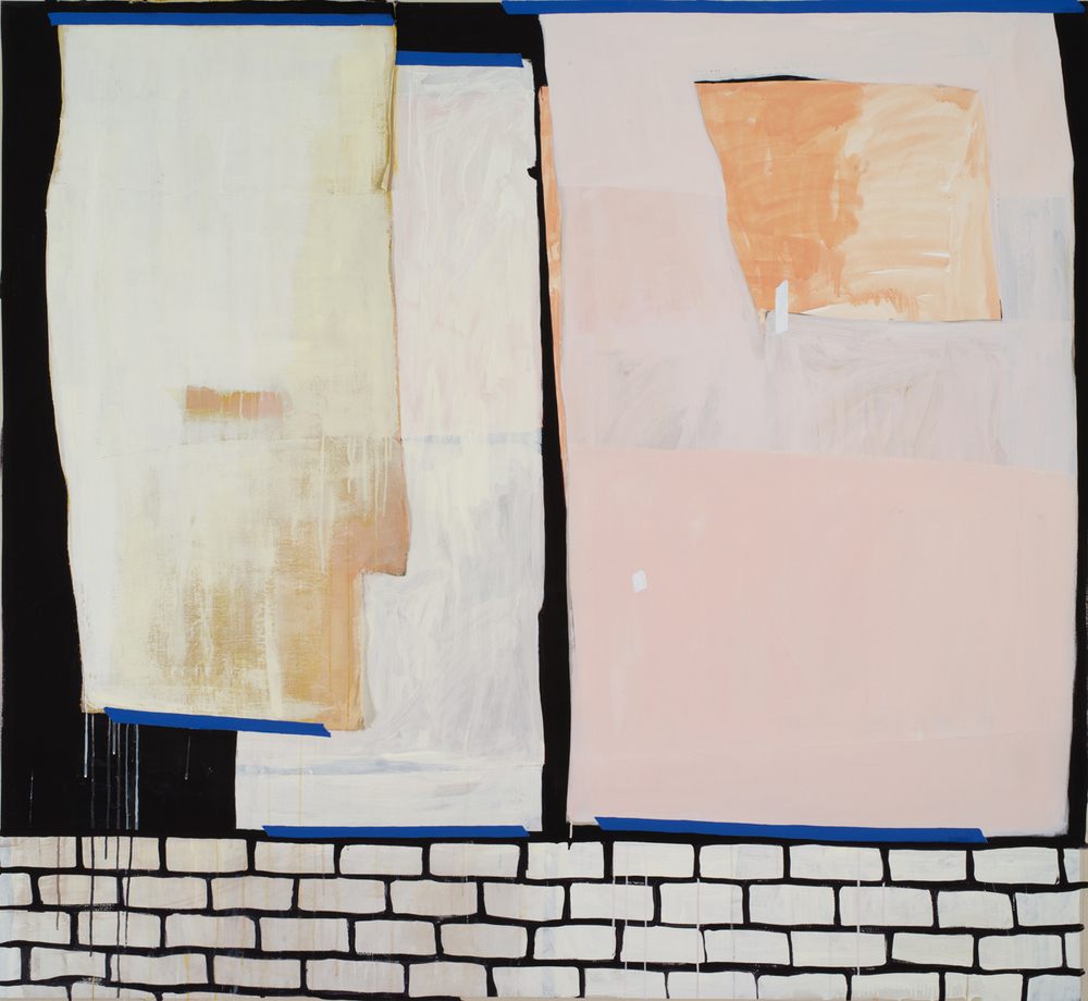 "Lizzie Scott  Storefront #1, 2013  Flashe, paper, and muslin on canvas  74"" x 81"""