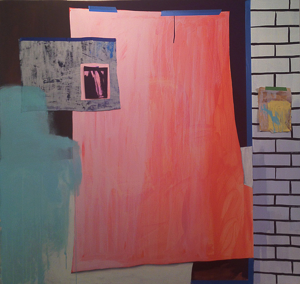 "Lizzie Scott  Storefront #3, 2014  Flashe, paper, and muslin on canvas  74"" x 73"""