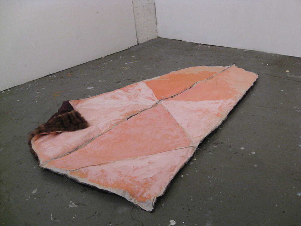 "Lizzie Scott  Sleeping Bag, 2014  Mixed Media  75"" x 56"""