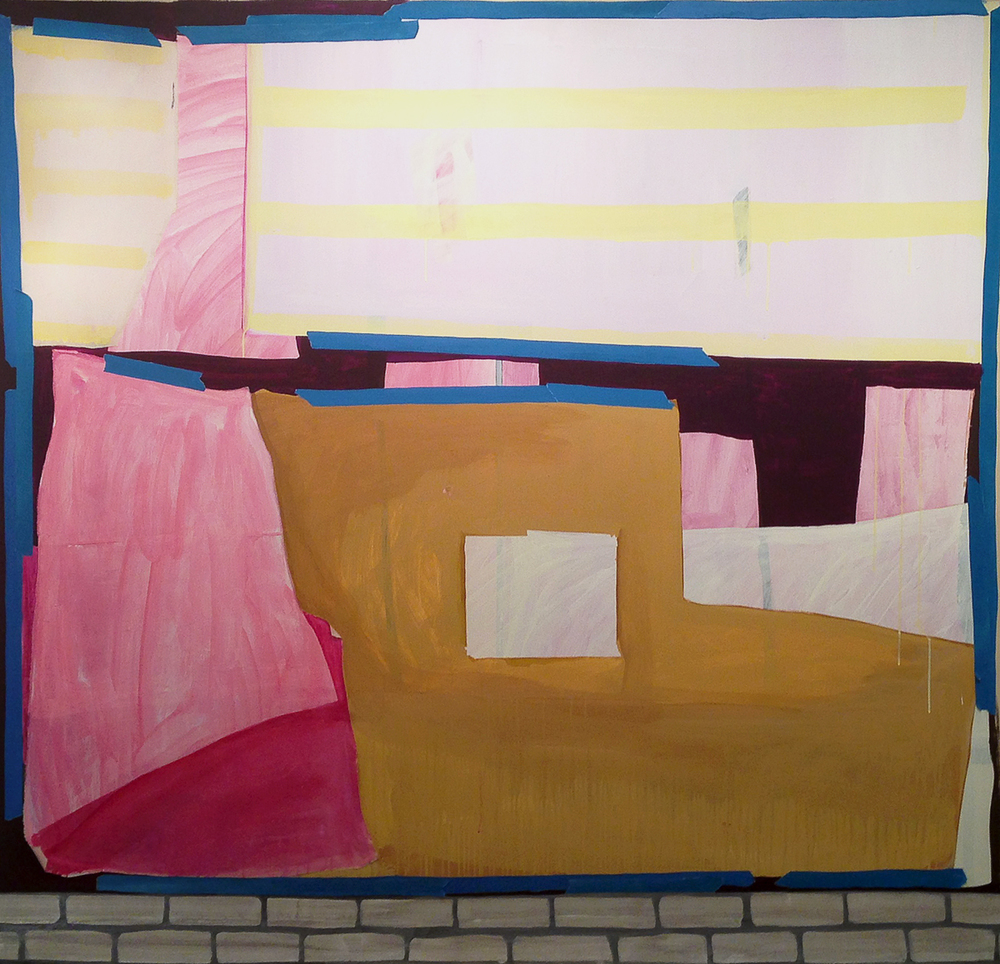"Lizzie Scott  Storefront #2, 2014  Flashe, paper, and muslin on canvas  75"" x 80"""