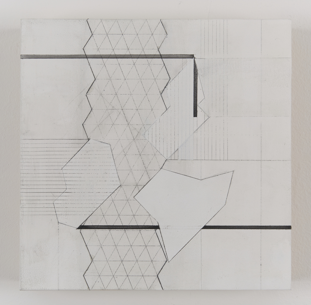 "Floating Grid 02,  2014  Acrylic and graphite on wood, 9"" x 9"""
