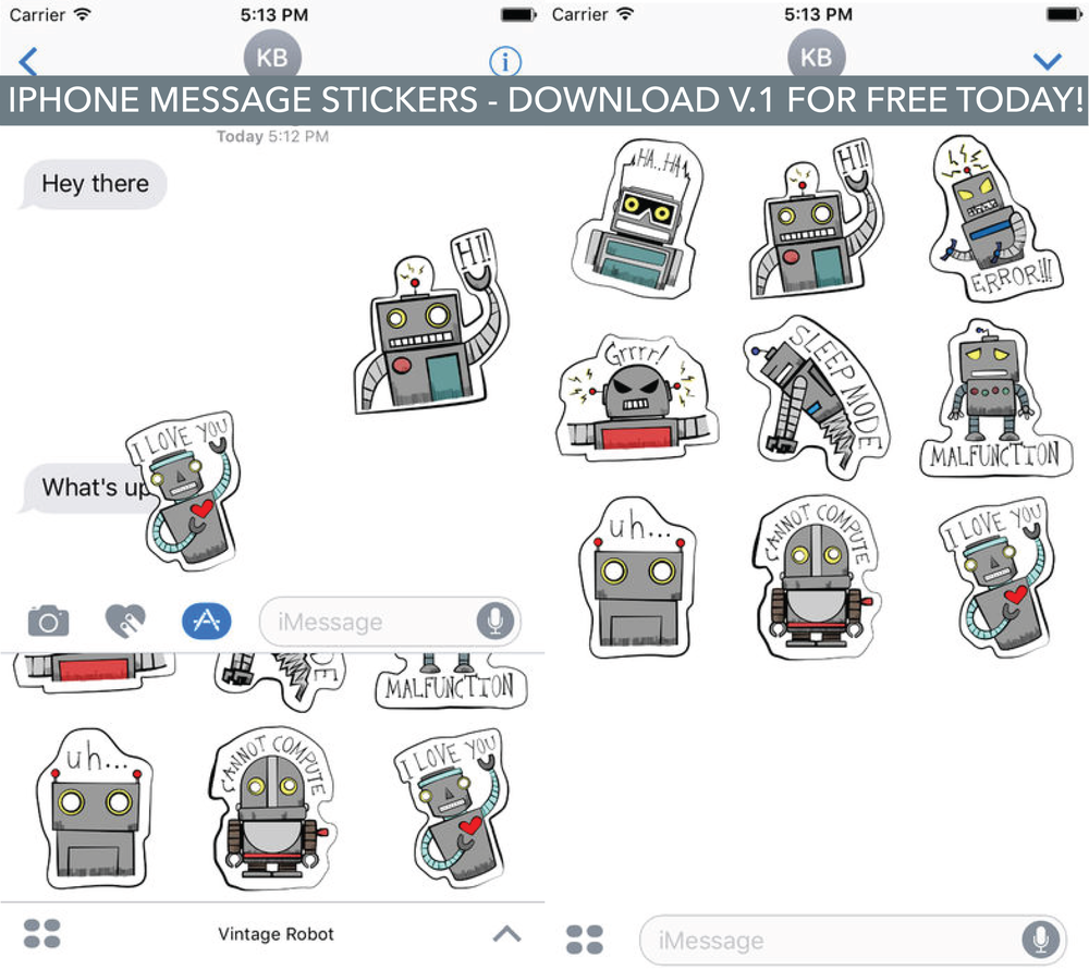Vintage Robot iMessage Stickers.png