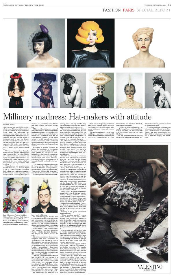 Faeth Millinery feature in the Global Edition of the New York Times.  Read the full article  here .