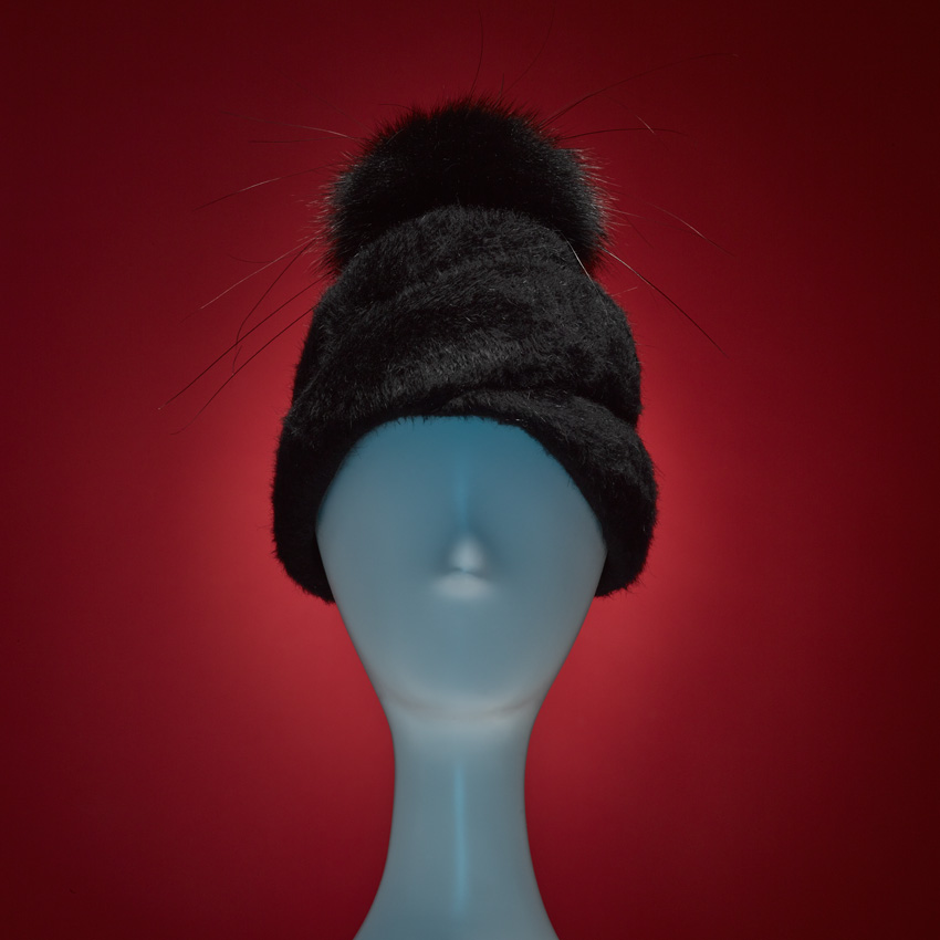 TATLIN    It's a turban. No, it's a beanie! No, it's our TATLIN beaver-finish spiral tur-beanie with FAUX fur and peacock herl oversized pom-pom. 100% Cotton Japanese grosgrain sweatband.     SHOP THE LOOK HERE!
