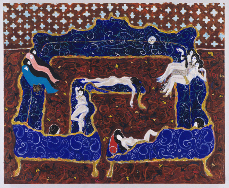 Odalisques on Louis Quatorze Sectional, 2005, Gesso, acrylic and glitter on panel, 32 x 39 in